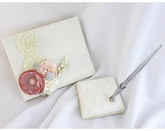 Wedding Lace Guest Book Pen Holder Set Birthday Book Custom Bridal Flower Brooch Guest Books  in Ivory, Dusty Pink, Blush