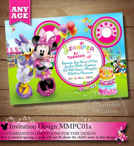 HUGE SELECTION Minnie Mouse Clubhouse Carnival Invitation Mickey