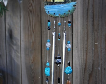 Sun-Catcher Wind-Chime Hand Painted Landscape Ivy Wood With Polished Aluminum Chimes