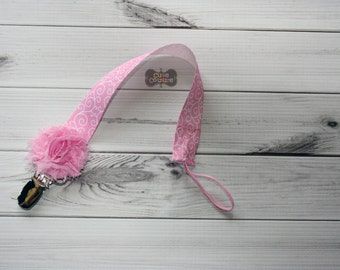 MORE STYLES-Boutique Style-Pacifier Clip-Baby Girl Pacifier Clip-Universal Pacifier Clip-Paci Clip-Chic-Pink Swirl-Pink Damask