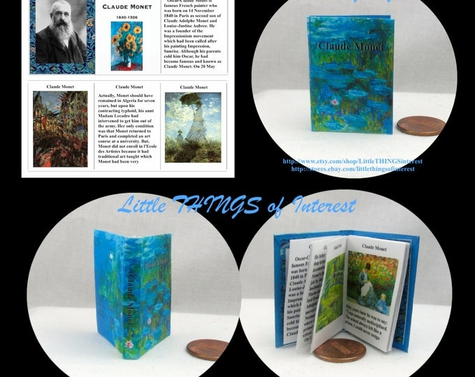 CLAUDE MONET Illustrated Book in 1:6 Scale - Blythe - Momoko - Pullip - Barbie Scale Readable Book 1/6 scale Barbie Accessory Bjd Art Artist