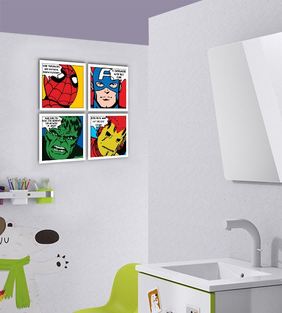 Items Similar To Bathroom Decor Superhero Kids Bathroom