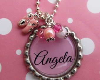 Dance Recital Gift, Ballerina Necklace, Ballerina Birthday, dance gift for girls, Name Necklace, Competitive Dance, Gymnastics Gift