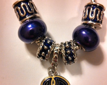 East Carolina University (ECU) Silver Necklace made of Beads and a Charm