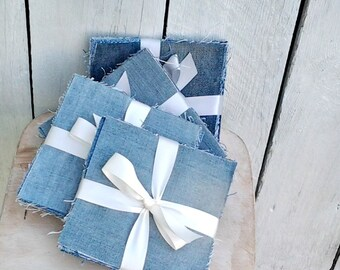 "5"" Denim Squares- Blue Jean Rag Quilt Fabric- Precut Denim- Blue Charm Pack- 20 pieces- Up-cycled Denim- Repurposed Denim"