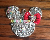 48mm Minnie Mouse Rhinestone Chunky Bubblegum Necklace Pendant - Red Bow
