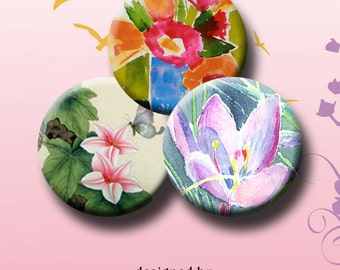 SPRING FLOWERS - Digital Collage Sheet - 30x1 inch round images for bottle caps, pendants, round bezels, etc. Instant Download #122.