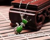 Sale 30% Natural elegant green nephrite  jade cute cat pendant, cat pendant,s925 sterling silver pendants ,Lucky Cat   jade pendant