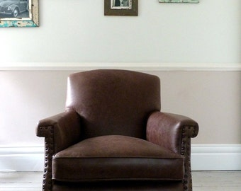 Antique Brown Leather Club Chair / Armchair
