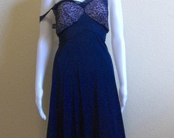Blue Lace Pinup Nightgown slip Medium