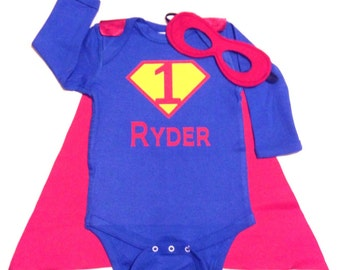 First Birthday Personalized Superhero Baby Outfit, Custom Birthday Superhero Baby Outfit with Cape and Mask, Super Hero Baby