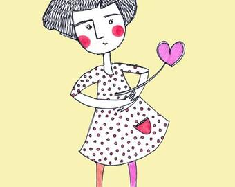 "Greeting card ""Love Girl"""