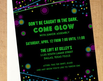 black light party invitation templates pictures to pin on, party invitations