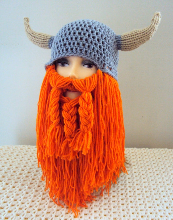 Crochet Viking Hat With Beard : Hat Long Beard Hat Beard Beanie Knit Viking Hat with Horns Beard Hat ...