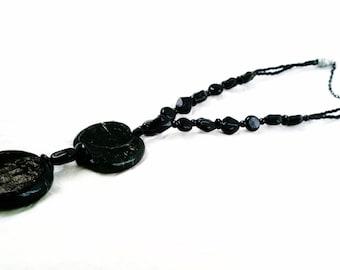 Long Black Circles Necklace