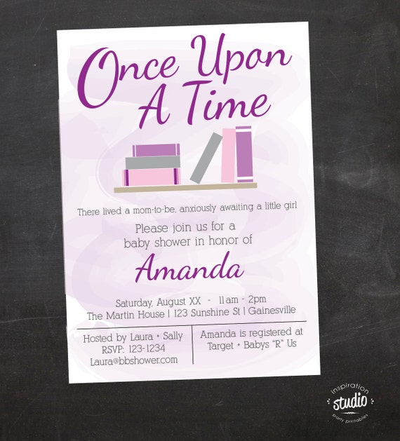 once upon a time storybook custom baby shower printable invitation