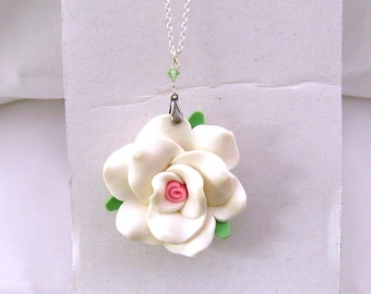 Little Girl Necklace, White Rose Necklace, Teen Necklace, White Flower Necklace, Young Girl Jewelry, Large Rose Necklace, Gift for Girls