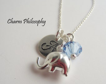 Custom Initial Elephant Necklace - 925 Sterling Silver - Personalized Handstamped Baby Elephant Charm Necklace - Gifts for New Moms