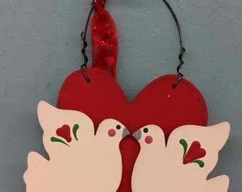 Dove's on a Red Heart Christmas Ornament
