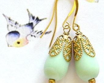 """Mint Earrings, Mint Green Earrings, Green Glass Drop Dangle Earrings """"Mint Treats"""", Shabby Chic Jewelry, Vintage Jewelry, Romantic Jewelry"""