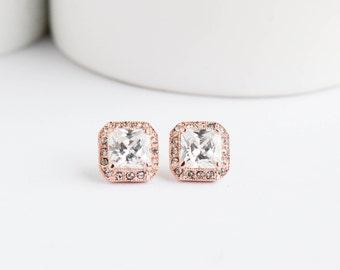 Bridal Earrings, Rose Gold Earrings, Rose Gold Studs, Everyday Earrings