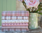 Antique Rose Fat quarter fabric bundle - 100% cotton - Rose pink, taupe, soft white, romantic hearts bunting gifts