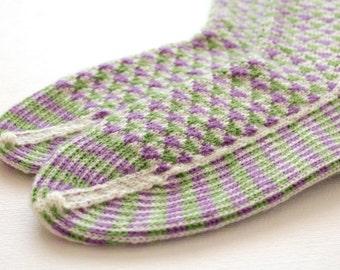 Knitted geometric socks, Lilac green socks, Triangular pattern socks, Wool socks, Warm socks, Thick socks, Stranded socks