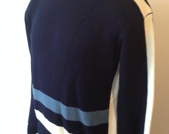 On Sale Vintage MENS Charter Oak ivory & blue crew neck sweater, size M