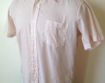 Vintage MENS 60s-70s John Blair Menswear short sleeve orange & white shirt