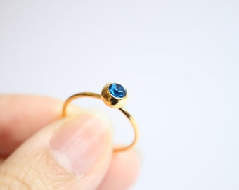 Sapphire Blue Swarovski Crystal 18k gold ring, simple, tiny, gem, birthstone of September, birthday gift, friendship