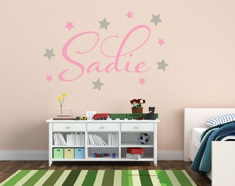 Star Wall Decal - Name Wall Decal - Girls Name Decal - Monogram Wall Decal - Children's Wall Decal - Vinyl Wall Decal