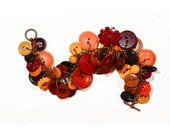 Vintage button charm bracelet, orange, yellow, brown, red, chunky, retro, handmade, women's Fall/Autumn  jewelry