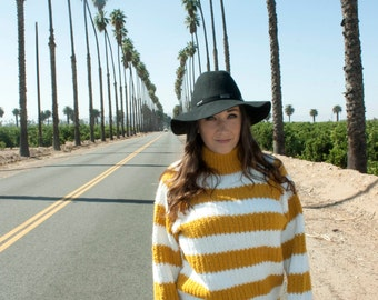 Vintage Striped Turtle Neck Sweater- Mustard and White