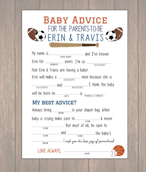 Baby Shower Advice Card Baby Mad Libs DIY By Onthegoprints
