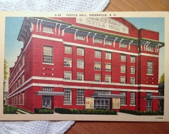 Vintage Postcard, Textile Hall, Greenville, South Carolina - 1940s Linen Paper Ephemera