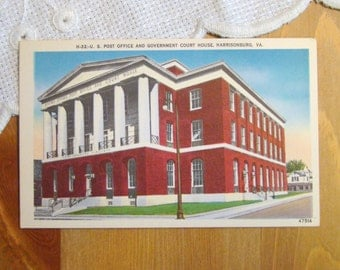 Vintage Postcard, U.S. Post Office & Government Court House, Harrisonburg, Virginia - 1940s Paper Ephemera