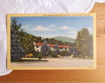 Vintage Postcard, Lake Lure Inn, Lake Lure, North Carolina - 1940s Linen Paper Ephemera