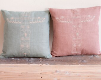Linen Baby Blue or Powder Pink Pillow