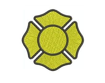 Machine Embroidery Design Instant Download - Fireman's Maltese Cross 2