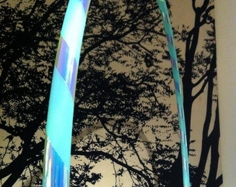 Rainbow Skies (HoopingLIVE) Hoop: UV Aquamarine Colored Polypro Hoop with loose wrap of Color-Shifting Translucent tape!