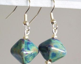 Raku Lampwork Diamond Shaped Earrings