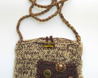 Brown and Tan Hand Knit Shoulder Bag Purse - Earthy Beauty