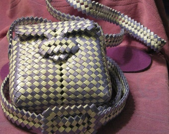 WOVEN PURSE and BELT-Purple  and White