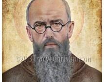 St. Maximilian Kolbe Art Print Catholic Patron Saint  for drug addictions and pro-life movement #4142