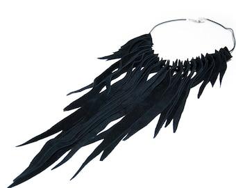Fringe black suede leather necklace. Statement necklace. Long fringe necklace. Black fringe. Handmade leather necklace. Black jewelry.