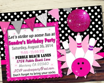 Bowling invitation / birthday party / bowling party / girl party / bowling birthday party