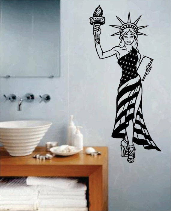 statue of liberty pin up girl wall decal sticker art graphic. Black Bedroom Furniture Sets. Home Design Ideas