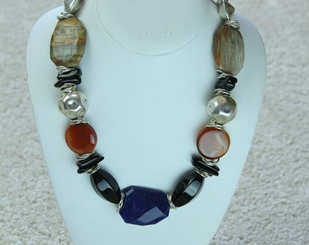 Chunky Multi Stone Necklace Featuring Carnelian, Onyx, Lapis, Picture Jasper & Sterling Silver Beads in Red, Black, Blue, Silver and Taupe