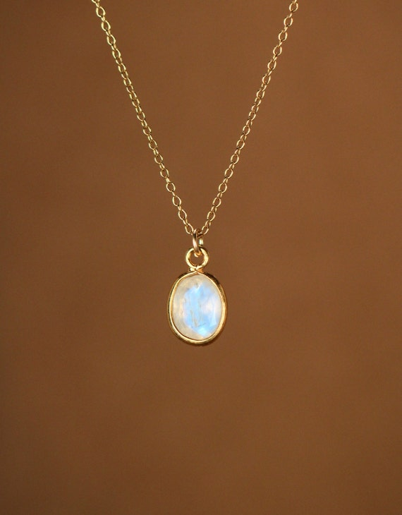 Moonstone necklace - minimalist - everyday - rainbow moonstone - blue flash - a 22k gold lined oval moonstone on a 14k gold vermeil chain
