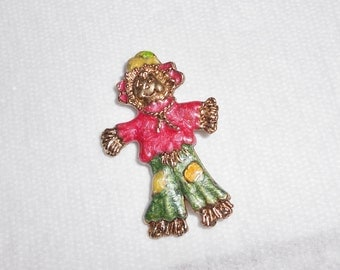 Vintage Scarecrow pin Colorful and happy brooch, goldtone metal and enamels